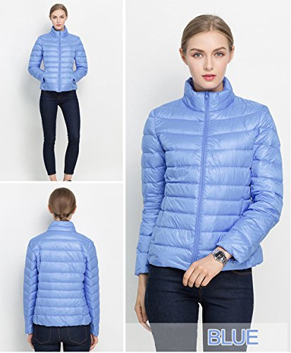 Women Jacket Blu Down Disponibili Colori Packable Lighweight Fashion Santimon 20 Coat Collar Stand HqUHw4