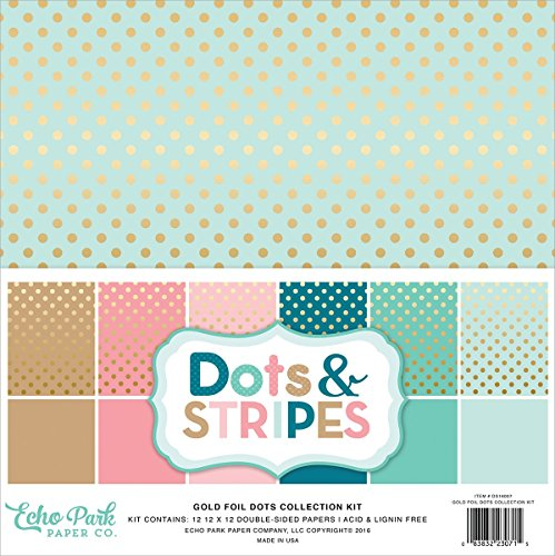 """Price comparison product image Echo Park Paper DS16007 Collection Kit,  12"""" x 12"""",  Dots & Stripes with Gold Foil,  Assorted"""
