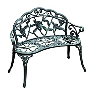"Outsunny Cast Iron Antique Rose Style Outdoor Patio Garden Park Bench, 40"" by Outsunny"
