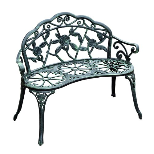 Outsunny Cast Iron Antique Rose Style Outdoor Patio Garden Park Bench, 40