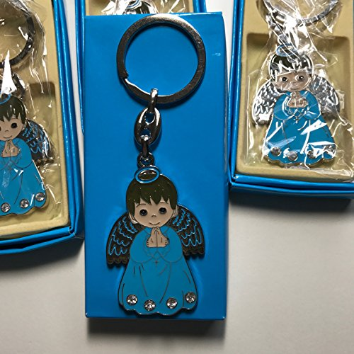YRP gifts 12 ANGEL Keychain First Communion BAPTISM Party Favor Boy Blue ()