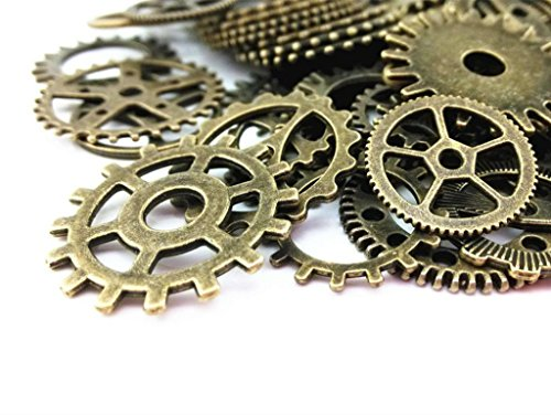 Antique Gears (AKOAK 100 Gram Mix Style Antique Steampunk Gears Charms Clock Watch Wheel Gear Pendant Charms for DIY Craft (Antique Bronze))