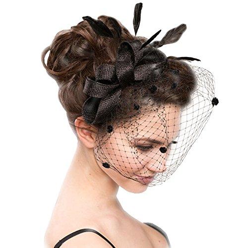 Urban CoCo Women's Vintage Flower Feather Mesh Net Fascinator Hair Clip Hat Party Wedding (Series 5-Black)