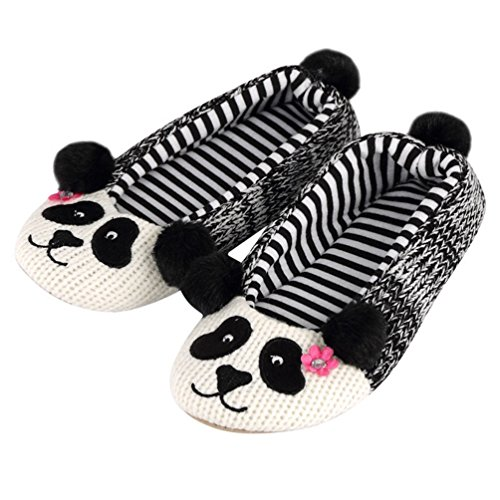 YUTIANHOME Ladies Slippers Womens Knitted Cartoon Warm Non-Slip Flat Closed Toe Indoor Shoes panda