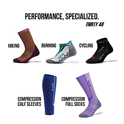 Running Socks for Men and Women by Thirty 48 - Features CoolMax Fabric That Keeps Feet Cool & Dry - 1 Pair, 3 Pair, or 6 Pair