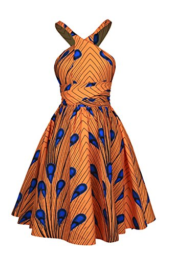 Naimo Girls Bohemia Style Pleated Dress 3D Printing Multi-Way African Dress Orange