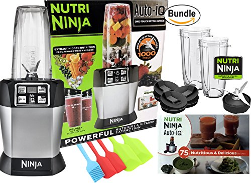 Nutri Ninja Auto-iQ One Touch Single Serve High Speed Blender (BL482) with Recipe Book & Zonoz Spatula Set Bundle
