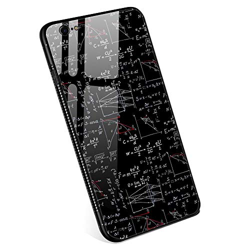 iPhone 6 Plus Cases for Boys Girls Men and Womens, M Physics Formula Tempered Glass iPhone 6s Plus Case Fashion Personality Printing Mobile Phone Shell Black Cover Case for iPhone 6/6s Plus