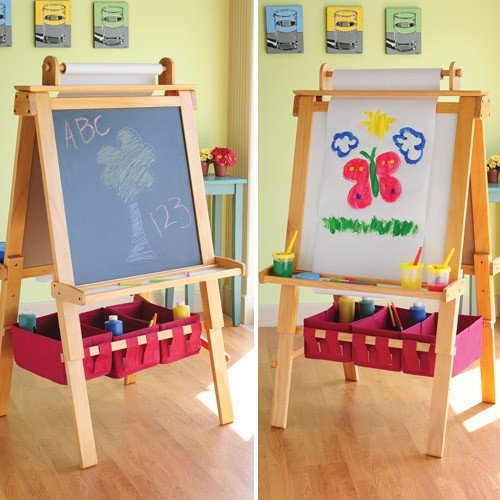 Constructive Playthings TQL-99 CP Toys Pine-Wood Double Sided Art Easel with Dry Erase and Chalkboard, Grade: Kindergarten to 3 by Constructive Playthings