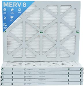 16x20x1 Merv 8 Pleated AC Furnace Air Filters. Box of 6 (Actual Size:15-1/2 x 19-1/2 x 7/8)