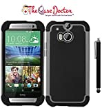 TCD New Gray & Black Executive Armor Defender High Impact Combo Hard Soft Gel Case Cover Skin Body for HTC One M8