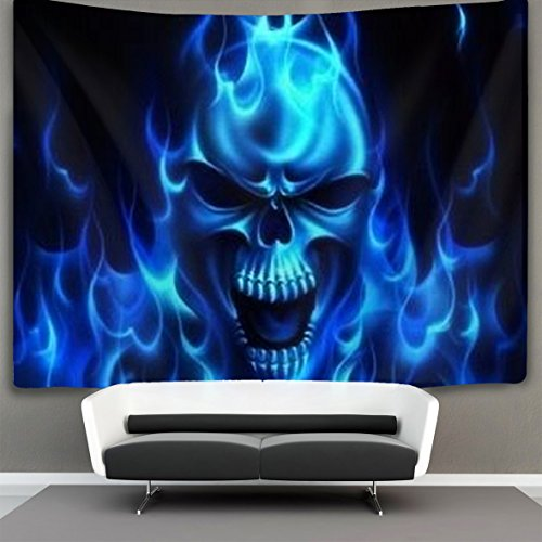 (HOMESTORES flaming blue cool skull Wall Tapestry Hippie Art Tapestry Wall Hanging Home Decor Extra large tablecloths 60x90 inches For Bedroom Living Room Dorm Room)