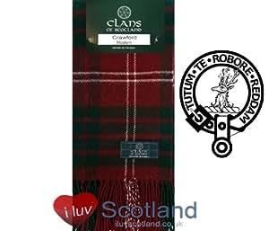 Crawford Modern Tartan Clan Scarf 100% Soft Lambswool
