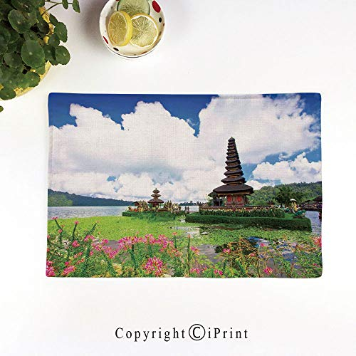 (LIFEDZYLJH Machine Washable Placemats - Handcrafted with Classic Hemstitch & Mitered Corners,Pura Ulun Danu Temple in Bali Tropic Flowers Water Plants Tower in The Sea Scenery,Blue Green Pink)