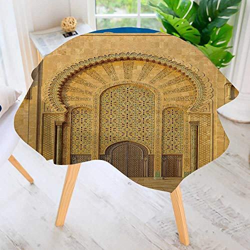 PRUNUS Round Tablecloth-Moroccan Arabesque Design gate The Mosque Hassan ii in Casablanca Morocco Round Circular Solid Polyester Tablecloth 43.5