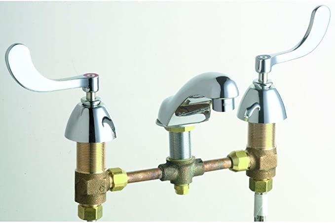 Chicago Faucets #404-V317ABCP 8-Inch Widespread 2-Handle Low Arc Bathroom Faucet