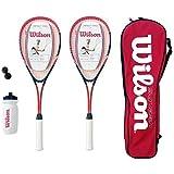 Wilson Hyper Team 500 Squash Racket Set With Squash Balls & Waterbottle
