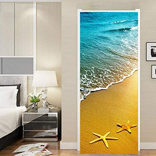 FLFK 30.3x78.7 3D Starfish Ocean Beach Wallpaper Door Mural Wall Stickers for Home Decoration Vinyl Removable Decals- Peel and Stick - Easy-to-Clean, Durable (2 PCS) (Beach Door Mural)