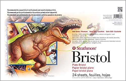 Strathmore (580-52) 500 Series Sequential Art Bristol, 2-Ply Plate Surface, 24 Sheets