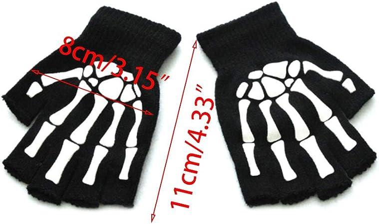 Kids Half Five-fingers Knitted Outdoor Gloves Glow In The Dark Skeleton Designed