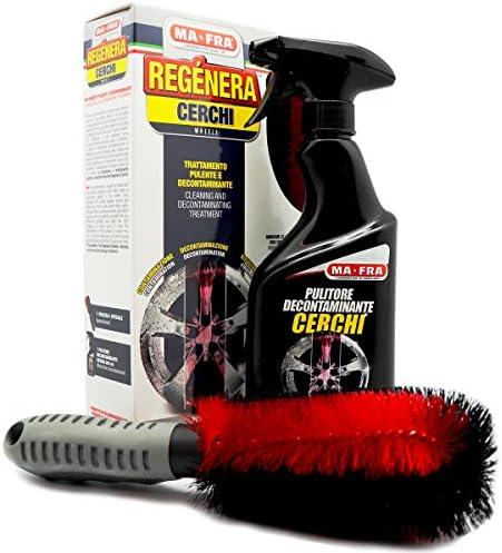 Ma-Fra, Kit Regénera Cerchi, Trattamento Completo Pulente e Decontaminante, Composto da Detergente Spray 500ml + Spazzola Speciale