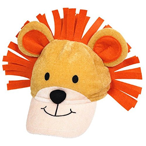 amscan Colorful Jungle Animals Lion Fabric Birthday Hat, Orange/Light Brown/Black/Off-White - Kids Black Jungle Hat