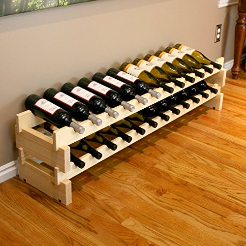 Creekside 24 Bottle Long Scalloped Wine Rack (Pine) by Creekside - Easily stack multiple units - hardware and assembly free. Hand-sanded to perfection!, Pine (Wine Rack Scalloped)