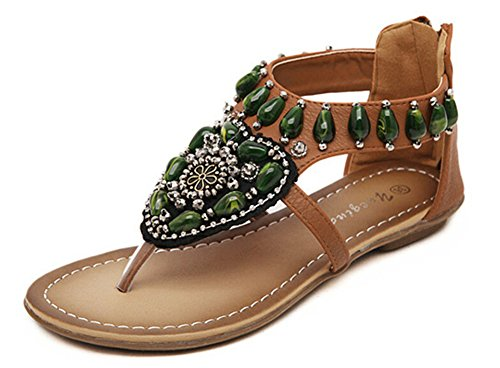 Fortuning's JDS Beaded Bohemia T-strap sandal fashion shoes for women Brown iU8aU