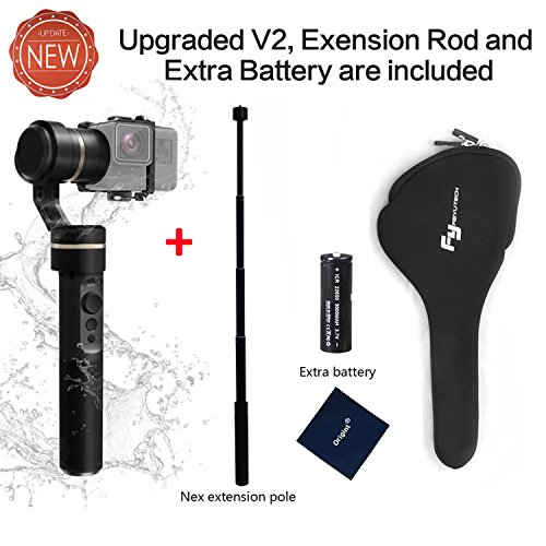FeiyuTech G5( Upgraded V2) 3-Axis Stabilized Handheld Gimbal for Gopro HERO 6/5/4/3+/ 3, Yi Cam 4K, AEE Sports Cams,Including 1pcs Extra battery