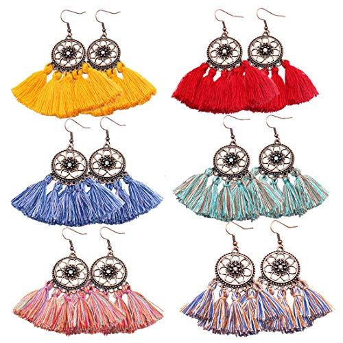 COMMINY 6 Pairs Colorful Statement Tassel Earrings, Fish Hook Handmade Bohemian Fringe Dangle Earrings for Women Girls ()