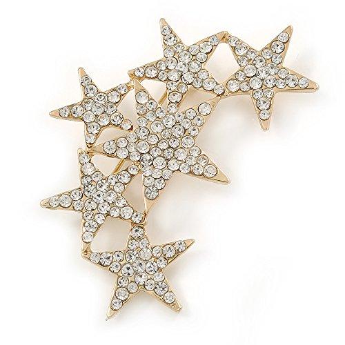 Gemstone Star Brooch (Gold Tone Clear Crystal Star Cluster Brooch - 55mm L)