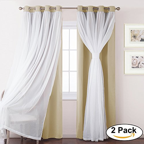 Match Pony (Beige Mix & Match Voile Blackout Curtains-PONY DANCE Double LayerWindow Treatments Panels for living Room/bedroom,52 by 63 inches,Beige,Set of two)