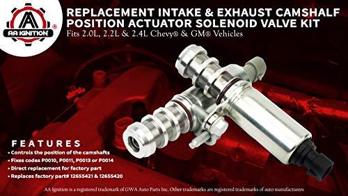 Intake and Exhaust Camshaft Position Actuator Solenoid Valve Kit - Replaces  12655421, 12655420 - Fits Chevy Cobalt, HHR, Malibu, Equinox, GMC Terrain,