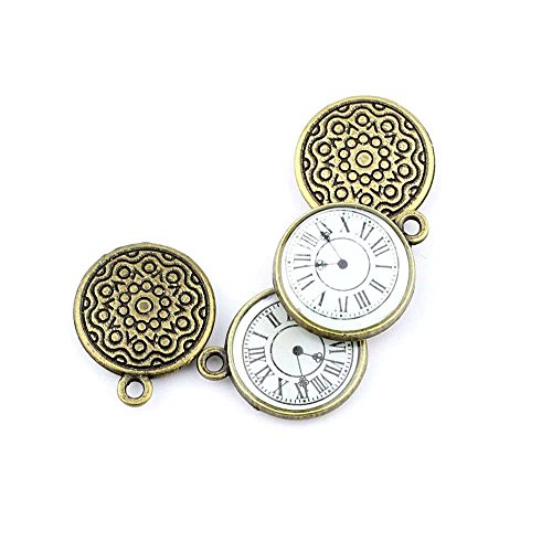 Qty:1PC Antique Bronze Jewelry Making Charms Findings Supplies Craft Ancient Repair Lots DIY Antique Pendant Vintage Z72479 Pocket Watch Clock from YAOLIHONG Charms