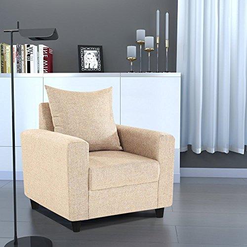 Furny Juan 1 Seater Fabric Sofa Set  Cream