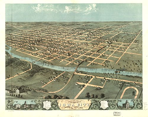 Old Vintage City Maps (18 x 23 Old Vintage Antique Panoramic Map of: c.1868 Bird's eye view of Iowa City, Johnson Co , Iowa 1868 Professionally Reprinted)