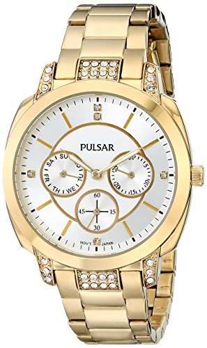 PULSAR Womens Night Out Japanese Quartz Silver Dial Gold Watch - PP6136