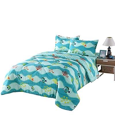 TT LINENS 5pcs/7pcs Boys Girls Comforter Set Kids Comforter Set Bedding Set Include Sheet Set Bunk Beds for Children Twin/Full/ 277 Fish Comforter (Twin): Home & Kitchen