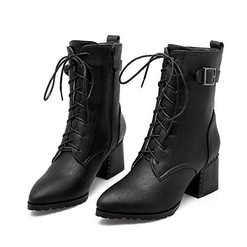BalaMasa Urethane Zipper Solid Black Boots Buckles Womens Metal OrOPqxTa