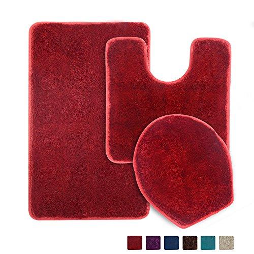 3 Piece Bathroom Rug Set, Seavish Non Slip Microfiber Shaggy Soft Bath Shower Mats Contour Bath Rug Toilet Seat Cover Combo (3-Piece Set, Wine Red) -
