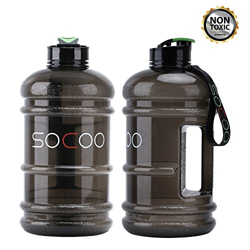 Water Jug 2.2L Large Water Bottle Leak Proof Giant Sports Water Bottle For Gym Fitness Athletic Outdoor Camping Big BPA Free Plastic Sports T-black
