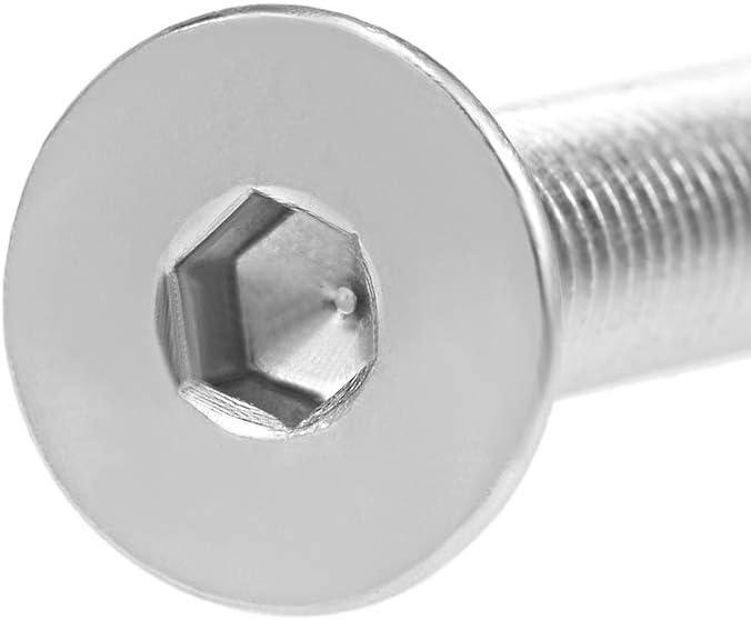 uxcell M8x80mm Flat Head Machine Screws Inner Hex Screw 304 Stainless Steel Fasteners Bolts 5Pcs