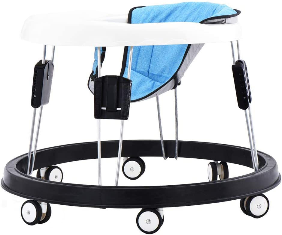 Flax Blue Cushion Baby Walker with Eight Universal Wheels 9 Speed Adjustable Height Child Anti-Rollover Folding Toddler Walker for Baby 6-18Months Maximum Load 15 kg