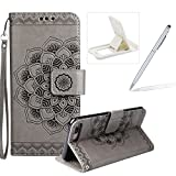 Rope Leather Case for iPhone 7 Plus,Strap Wallet Case for iPhone 7 Plus,Herzzer Bookstyle Classic Elegant Mandala Flower Pattern Stand Magnetic Smart Leather Case with Soft Inner for iPhone 7 Plus 5.5 inch + 1 x Free White Cellphone Kickstand + 1 x Free Silver Stylus Pen - Gray