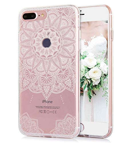 Flowers Phone Case Compatible with iPhone 8 Plus iPhone 7 Plus Watercolor Floral Pattern Clear IMD Hybrid Hard TPU Cover Shockproof Cute Apple Phone Cases for Women Girls -White Mandala[5.5