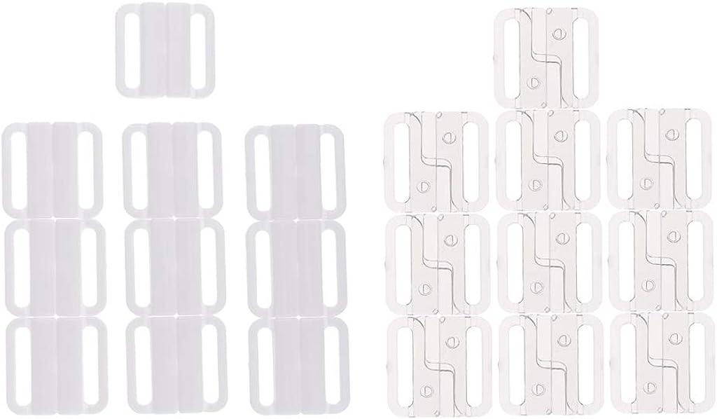 #N//A 20x Fermeture de Soutien-gorge En Plastique Clips de Couture Accessoire de Support de Sangle Arri/ère Blanc Clair