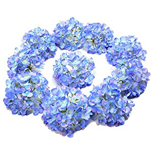 LUSHIDI 10PCS Silk Hydrangea Heads with Stems Artificial Flowers for Wedding Party Home Decor (Blue) 19