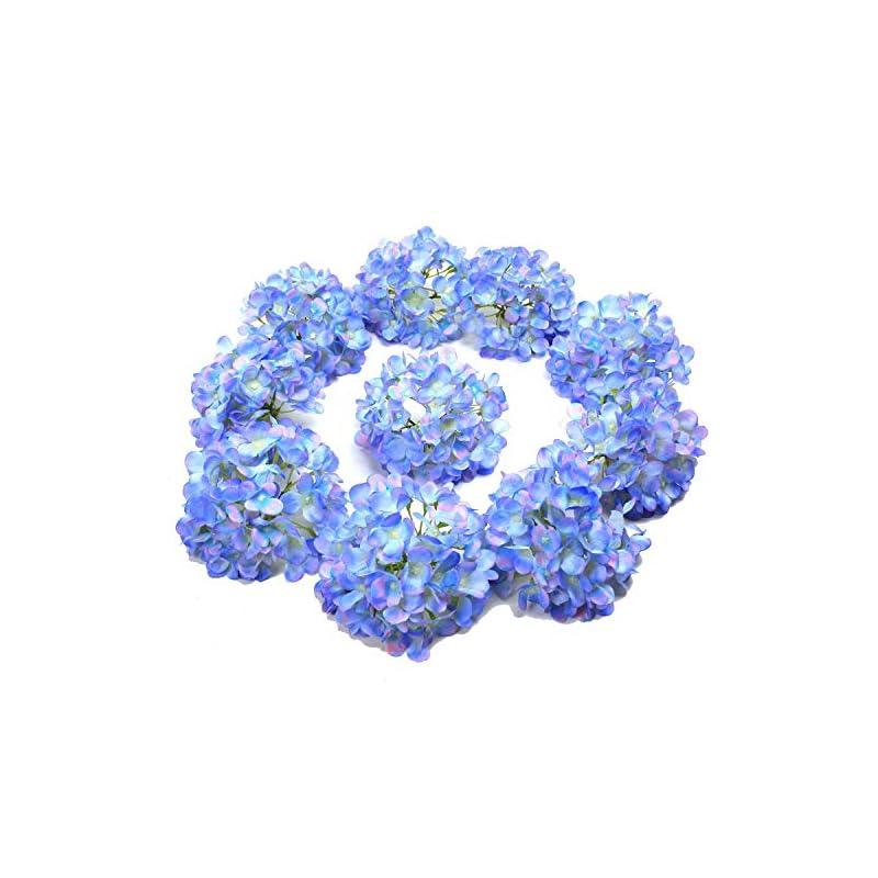 silk flower arrangements lushidi 10pcs silk hydrangea heads with stems artificial flowers for wedding party home decor (blue & pink)