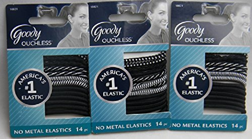 14k Pattern (Goody Ouchless Elastics, Ponytailer Ribon Pattern Black and White, 14 Count, 4 MM, 3 Packages)