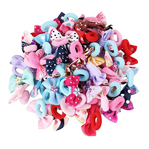 - Candygirl Girls Bow Elastic Ties,Ponytail Holders,Hair Bands,Hair Elastics,Value Set (50 small bow for girl or pets)